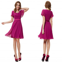 Cheap 2014 Summer Simple Fushcia Jewel Ruched Knee-length Chiffon Graduation Dresses Short Sleeves Poet With sash Bridesmaid Gowns Plus Size