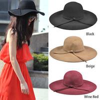 Wholesale 2014 New Wool soft Felt Crushable Summer Sun Beach Wide Brim Ladies Floppy Hat Girls Sun Hats