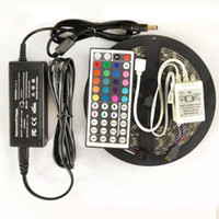 ir led light - 5M SMD RGB Led Strip Light Waterproof non waterproof LEDs Roll with keys IR Remote Controller with V A Power Supply Adapter