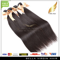 Wholesale Top Quality quot quot Peruvian Virgin Remy Hair Extensions Natural Color Silky Straight Weaves Wefts Bellahair Bundles A