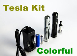 Wholesale Tesla Kit Battery Atomizer Charger Electronic Cigarette Kit Mod Advanced Variable Voltage Precisely With Six Colors TZ017