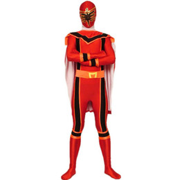 Red spandex tights pan-coating dinosaur fighter performance clothing Halloween masquerade dress props cosply