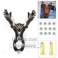 ammo bags - 5 in Hunting Wolf Catapult Slingshot Genuine Leather Pouch Bag XRubber Band mm Ball Ammo