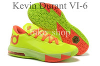 Cheap 2014 Latest Fluorescent Yellow Kevin Durant VI KD 6 Mens Basketball Shoes Athletic Kd6 Sneakers Lightweight Outdoor Sports Shoes