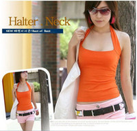 Wholesale Cotton Halter Neck Women s Candy Color Tank Top Vest Sleeveless Sexy Based Camis