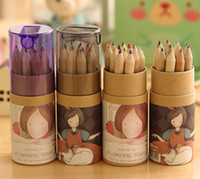 Wholesale NEW color box boxes Lovely colors Pencils set Lovely Girl Pencil amp Sharpener Set