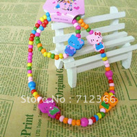 Cheap Min order $8.8(Mix order).Top Fashion Hello Kitty Kids Jewelry Set Colorful Wood Beads Strand Necklace Stretch Bracelet