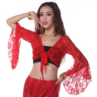 Cheap New Womens Tribal Belly Latin Dance Lace Flare Sleeve Yoga Choli Top Crop Tops Blouse Shawl For Freeshipping