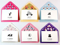 Wholesale sets lovely animal designs LOMO Style Small Gift Cards Greeting Cards Blessing cards with paper envelop