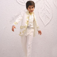 Cheap CUstom Made Size and Color Kid Embroidery Suits Boy Wedding Suit Boys' Mandarin Collar (Jacket+Pants+Tie+Girdle) J593