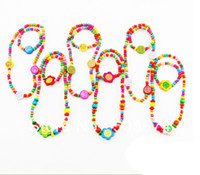 Cheap CHILDREN JEWELRY SET GIRL MIXED CUTE WOOD BEADS NECKLACE BRACELET SET New Baby Kids Gifts 36sets lot