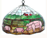 110V lamps stained glass - Style Stained Glass Pig Hanging Lamp Light Ceiling Fixture Chandelier