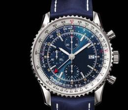 Wholesale Top sale good quality Men watch quartz stopwatch Blue leather Fashion Men chronograph Watches