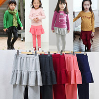 Wholesale 2014 Brand New Girls s Leggings Solid Accordion pleated Skirt Culottes Leggings Top Quality Kids Pants LK28