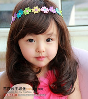 Wholesale Cute Children Wigs Princess Girl Long Straight Long Curly Medium Long Curly Hair Wigs Black Brown