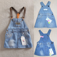 Wholesale MN Summer New Brief Dresses For Baby Girls Princess Denim Jeans Kids Cute Strap Dress Brand Name TXW