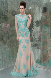 Wholesale 2014 Hot Sales Lace Prom Dresses With Cap Sleeve Crew Mermaid Style Floor Length Backless Beaded Custom Made Prom Gowns