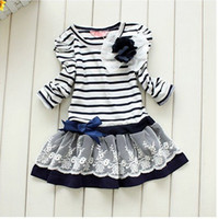 Cheap Wholesale-MN-Free shipping 5pcs lot Spring baby girl striped children lace dress chest with flowers baby dress tutu dress 2 colors