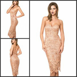 Wholesale Champagne Lace Party Dresses Sexy Sweetheart Corset Back Slit Sheath Knee Length Cocktail Mother Bridesmaid Dresses Cheap on Sale