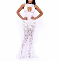 Cheap New Mermaid Bandage Dress Hollow Front White Lace Bodycon Party Dress Fashion Celebrity Evening Bandage Dresses vmbij,