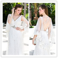 Cheap 2014 V-neck Wedding Dress Floor-length And Wattean Train Zipper Satin Lace And Stretch Satin Crystal Appliques Sequins Beach Wedding Dresses
