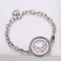 Wholesale 10pcs medium floating charm memory glass locket bracelet chain in stainless steel promotion gift Xmas mother day