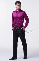 Newest Sales Trendy DesignMen Slim Silk- Like Satin Long Slee...