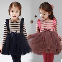 Cheap Hot Sale Girls's Dress Ball Gown Dress Striped Blouse Cute Little Lady Tutu Dress Top Quality LQ54