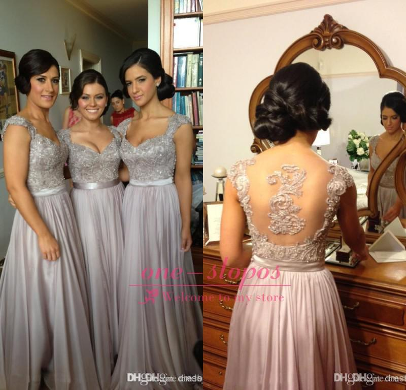 2015 Cheap Lace Bridesmaid Dresses Sweetheart Cap Sleeve Appliques ...