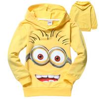 Wholesale Hot Cotton Children Long Sleeve Minions Hoodies Despicable Me Moi moche et méchant Sweatshirts Brand Cartoon Kids Sweater
