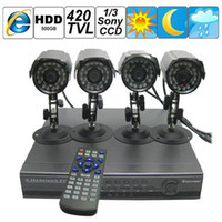 Wholesale CH H DVR Surveillance Security System with Waterproof IR LED Light For Night Vision TVL Sony CCD Sensor C