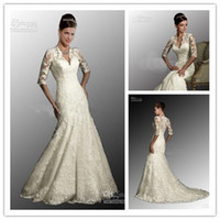 2014 Sexy White Wedding Dresses V Neck 3 4 Long Sleeves Merm...