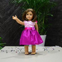 Wholesale Doll Clothes dress for American Girl doll Rose Flower With Paillette Pattern girl birthday gift