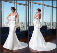 Cheap 2014 fashion Sheath Sweetheart Wedding Dresses with detachable peplum skirt Covered Button sleeveless satin chapel train Beads Sash gowns