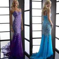 Cheap Full Beadings Dresses Fiesta 2014 Strap Aqua Long Mermaid Prom Dress New Dress Party Evening Dresses 5060