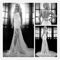 Best Selling 2014 New Illusion Bateau Neck Back Tulle Appliq...