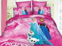 Cheap Wholesale - 3D cartoon kids bedding sets frozen Princess Elsa & Anna Olaf 4pcs bed set quilt cover duvet cover quilt bedspread 100% cotton