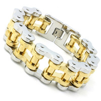 bicycle chain design - 194g Heavy k Golden Bicycle Chain Cool Man Bracelet L Stainless Steel Hot Biker Style Top Quality Design Bracelet