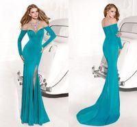 Cheap 2014 Green Sexy Long Sleeve Evening Dresses High Neck Beaded Crystal Backless High Slit Tarik Ediz Dress Sheath Prom Dress Formal Dresses