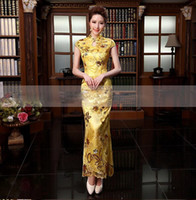 action wear - 2014 New Design Reformed Cheongsam Toast Clothing High Collar Vintage Sequins Ankle Length Daily Wear cheongsam Qipao Etiquette Action