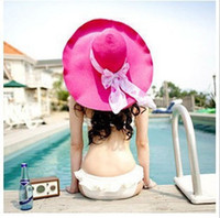 Wholesale Thick streamers Korea donated a large brimmed hat shading sun hat beach hat Dayan Mao Panama straw hat