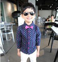 Wholesale 2014 Autumn Children Gentleman T Shirt Good Quality Long Sleeve Child Boy Bow Tie Dress Shirt Kids Suit Shirts Fit Age Baby Wear GX785