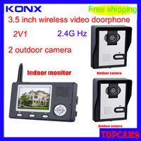 Wholesale DHL free KONX KX3501 V1 inch GHz digital wireless video door phone with meters transmission distance in open area door viewer
