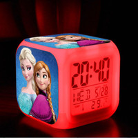 Wholesale 20pcs New LED Colors Change Digital Alarm Clock Frozen Anna and Elsa Thermometer Night Colorful Glowing Clock