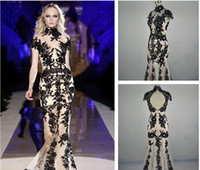 Cheap 2014 Fashionable Zuhair Murad Evening Dresses Black Lace Mermaid Dress Evening Elegant Luxury vestidos de festa Formal Party Evening Gowns