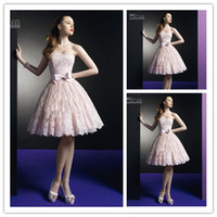 Hot Sale Pink Strapless Mini A- Line Wedding Dresses Lace App...