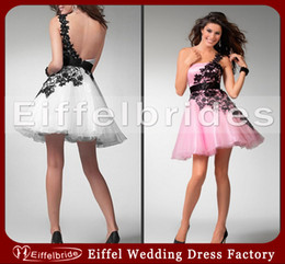 Wholesale Beautiful Young Girl s Party Dresses with Sexy Black Lace One Shoulder and Glamorous Backless Stunning Puffy Short Tulle Homecoming Dresses