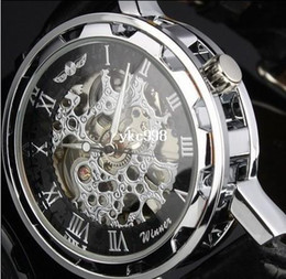 Man's Winner Black Leather strap Stainless Steel Skeleton Mechanical Watch For Man Manual Mechanical Wrist Watch Free Shipping