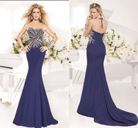 Cheap 2014 Sexy Tarik Ediz Evening Dresses High Neck Royal Blue Beaded Satin Backless Sweep Train Mermaid Prom Formal Dresses Pageant Dress Gowns