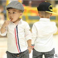 Wholesale 2014 NEW Gentle Kids Children Baby Boy s Clothing Long Sleeve Shirts Colour Stripes Cotton White cm T Boys Clothes K0387
